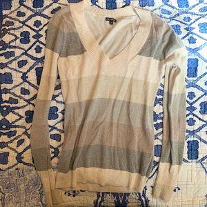 Express Striped V Sweater